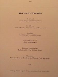 Gramercy Tavern Vegetable Tasting Menu