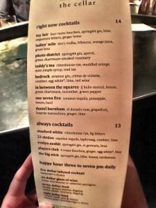 The Cellar Cocktail Menu