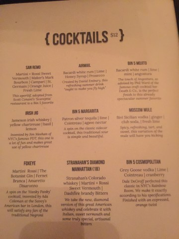 bin 5 cocktail menu