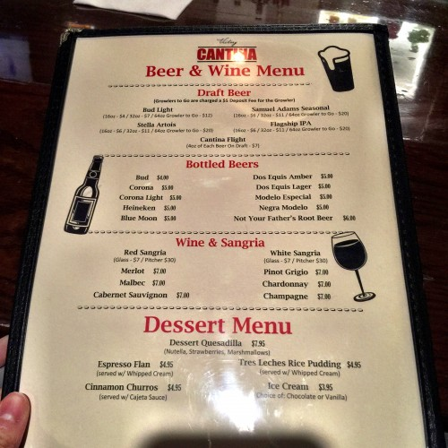 Victory Cantina Beer and Wine Menu