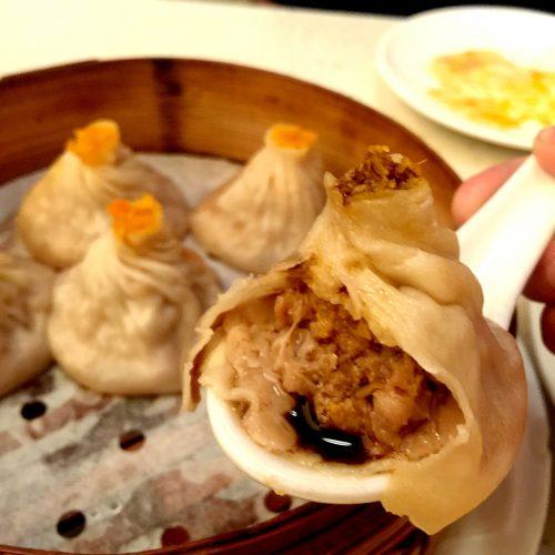 Flaming Kitchen Steamed Pork and Crabmeat Soup Dumplings Bite
