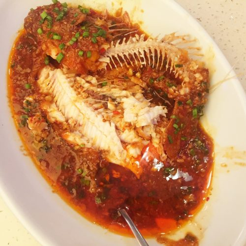 Flaming Kitchen Braised Whole Fish with Chili Miso Sauce After