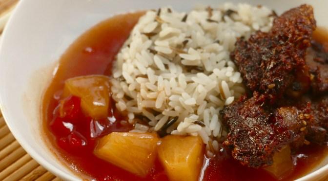 Krosses Sesam-Schweinefilet Süß-Sauer mit Wildreismischung