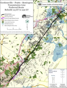 Gray areas show where Dominion Virginia Power's existing 115 kV line between Gordonsville and Remington are visible. Map credit: Piedmont Environmental Council. (Click for more legible image.)