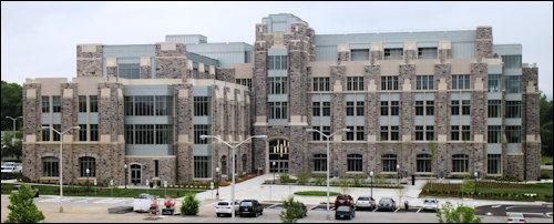 Virginia Tech's Goodwin Hall: traditional hokie stone on the outside, braniac smart building on the inside