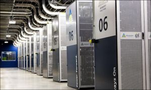 AES Energy Storage maintains racks of batteries similar in appearance to a server farm.