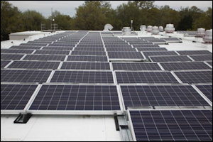 Dominion coupled solar rooftops at Randoph-Macon College with experimental battery storage.