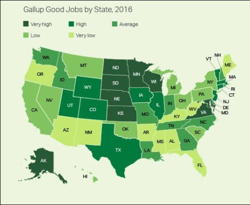 Gallup's Good Jobs Rate for Virginia is 49.2%. Despite sequestration, Virginia employment numbers are robust.