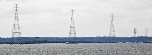 View of a Dominion transmission line crossing the James in Newport News downstream from the proposed Surry-Skiffes project.