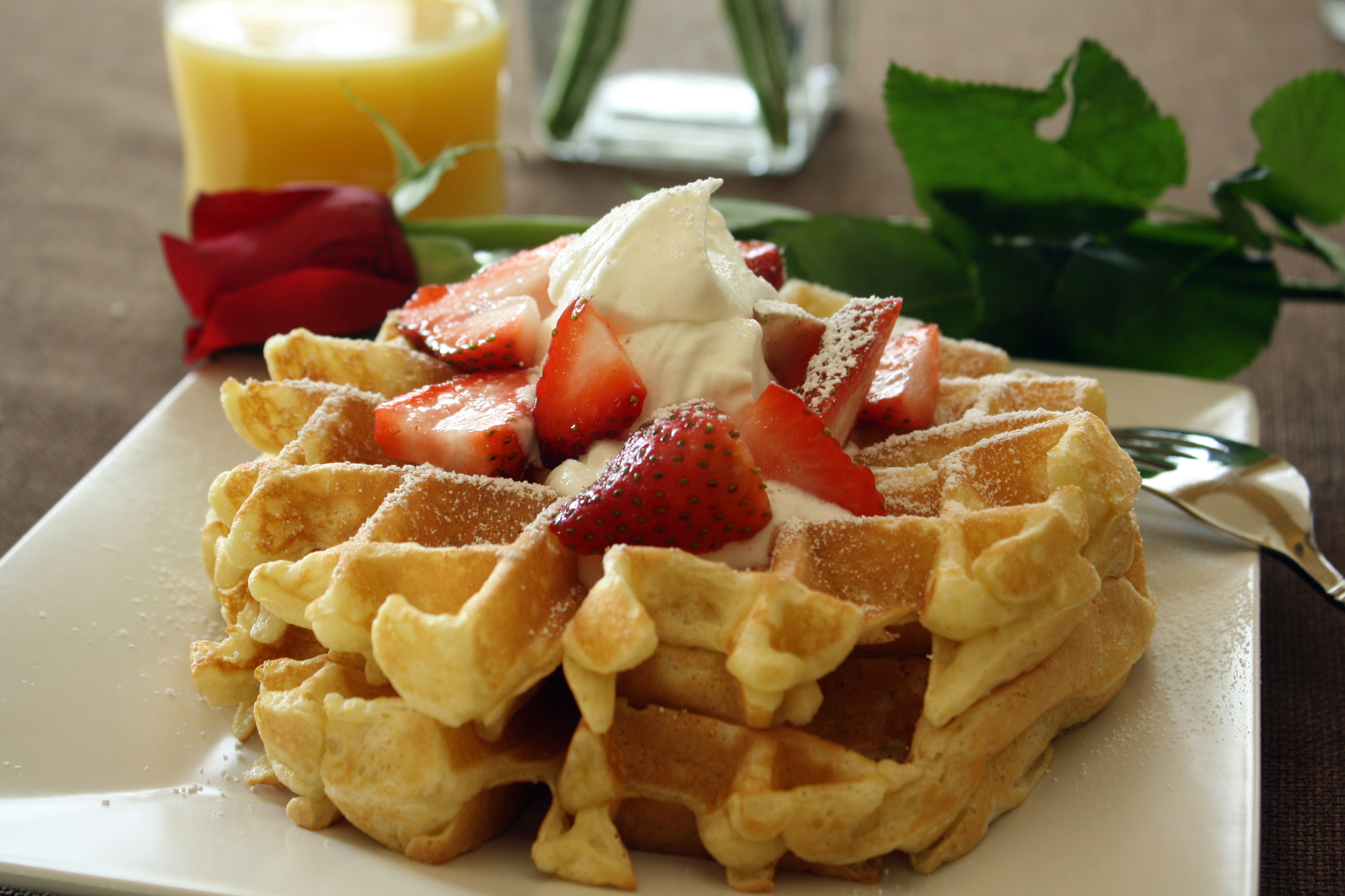 Valentines Day Special Breakfast Belgian Waffles With