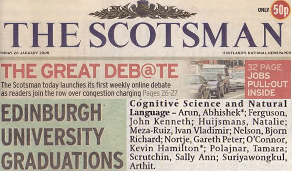 The Scotsman 2005 - Edinburgh Cognitive Science and Natural Language graduates