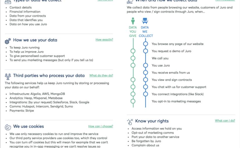เขียนและออกแบบหน้าตานโยบายความเป็นส่วนตัว-นโยบายการใช้ข้อมูล