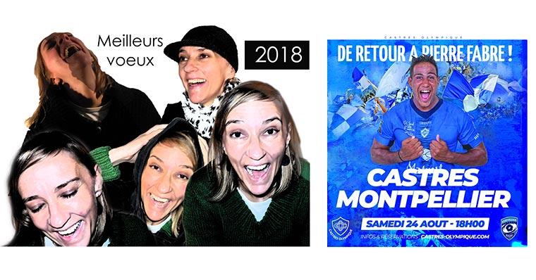 Le Castres Olympique lance la saison 2019 avec un support de communication qui rappelle notre carte de vœux 2018.