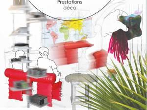 Planche d'ambiance avec des meubles B.A.D design français, des couleurs et des matières.s