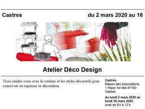 Moodboard pour présenter l'atelier déco proposé aux adhérents de l'Université Pour tous de Castres.