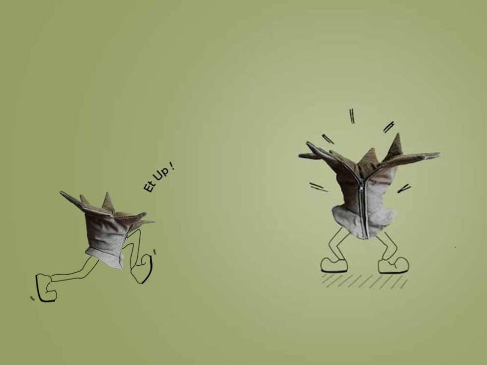 Dessin humoristique réalisé à partir d'un col amovible réalisé avec des matériaux recyclés.