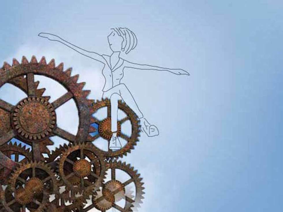 A l'image des Temps Modernes de Chaplin, une femme est assise sur des engrenages. Elle a les bras ouverts comme pour voler.