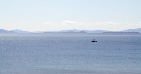 The spectacular view to the west and the Islands of Rhona and Skye