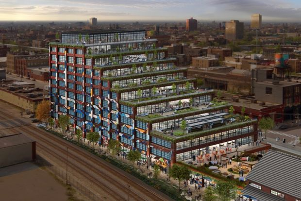 A planned office building at 375 N. Morgan St. in the red-hot Fulton Market District will feature wide, warehouse-style windows and copious outdoor space.
