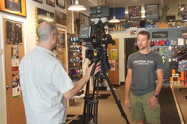 Universal Sole owner Joel Feinberg is interviewed by WCIU's