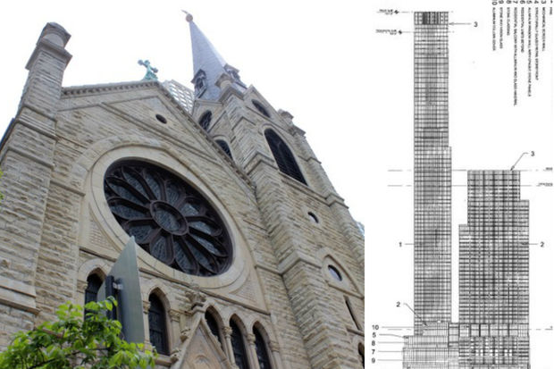 A developer wants to replace Holy Name Cathedral's parking lot with a pair of new skyscrapers.