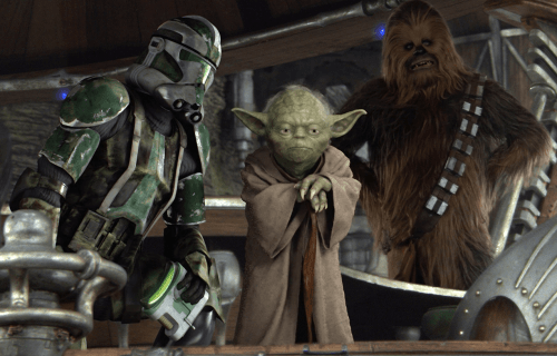"""""""Oh, also, Yoda and Chewbacca were old war buddies. Why the fuck not."""""""