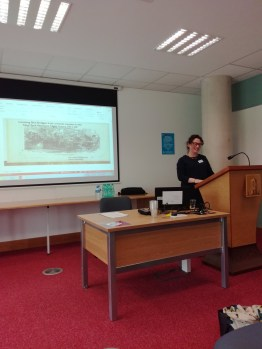 Dr Leanne McCormick presenting on the New York Women's Police Court at WHAI Galway