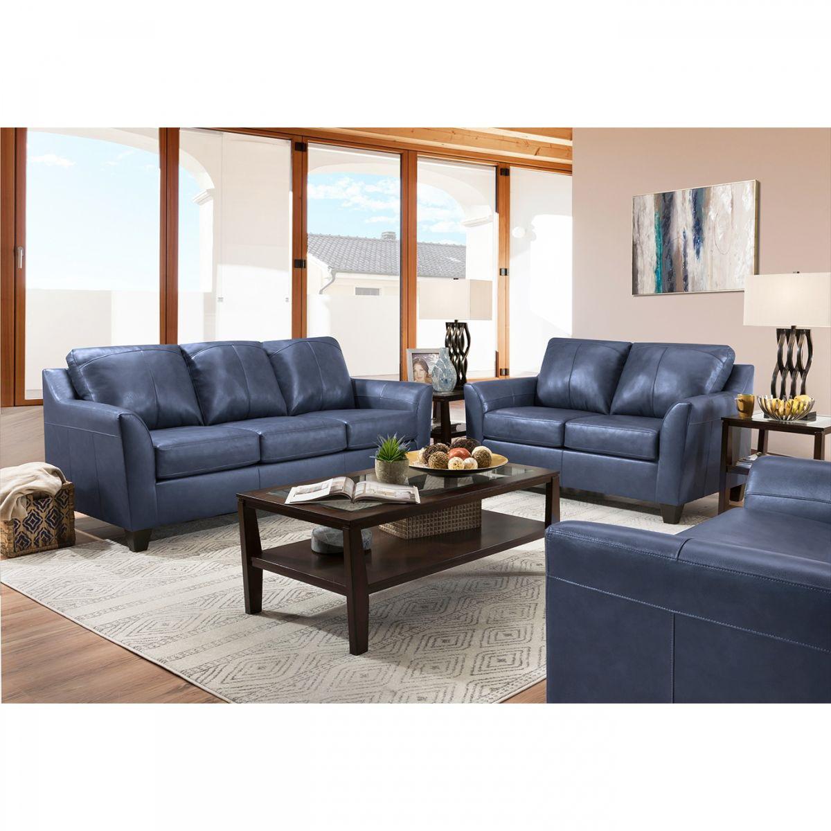 Regal Blue Leather Sofa Loveseat