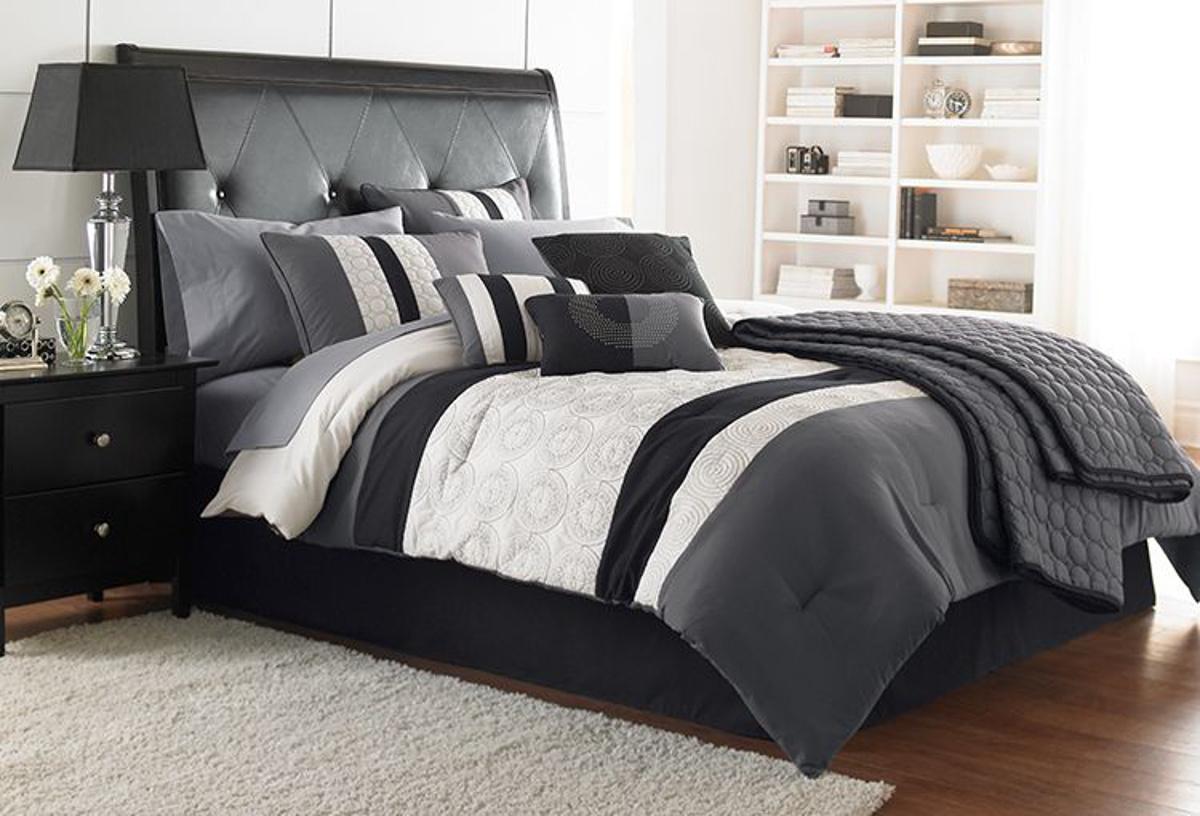 hartford black and white 7pc king comforter set
