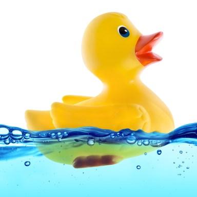 Badeand i blått vann