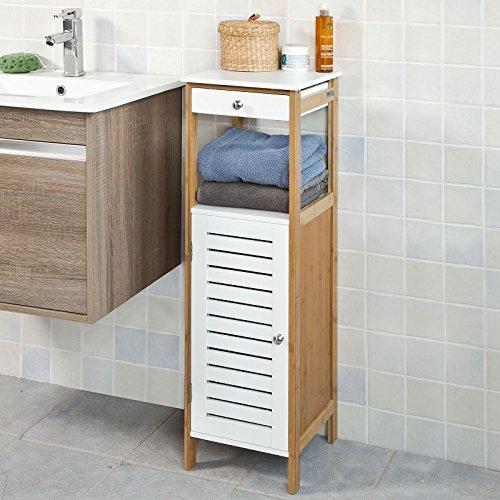 SoBuy Badkommode Badschrank Kommode mit Schubkasten und Tr Badezimmer aus MDF und Bambus