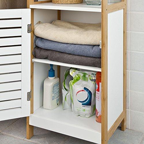SoBuy Badkommode Badschrank Kommode mit Tr Badezimmer aus MDF und Bambus FRG167WN