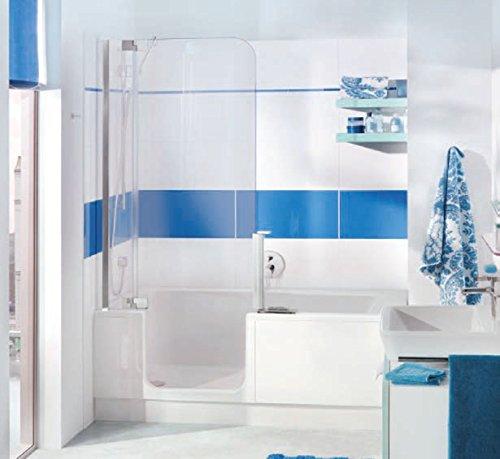Nischen Badewanne mit Tr und Dusche Artweger Twinline 2 Profil weiss  Badezimmer1de