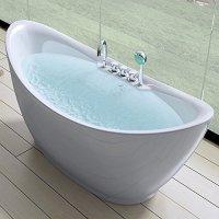 Freistehende Badewanne 180x80cm Oval inkl. Armatur Farbe ...