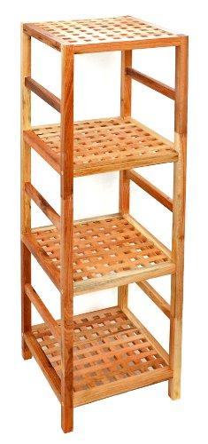 Regal Standregal Hochregal 117 cm aus Walnuss Massivholz fr Bad Wohnzimmer Sauna Flur Diele