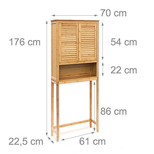 Relaxdays Waschmaschinenschrank LAMELL Bambus berschrank Badschrank mit Flgeltren Holz