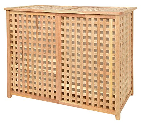Wschekorb Doppelkammer Wsche Truhe 67 cm Hhe Badmbel Massiv Walnuss Holz  Badezimmer1de