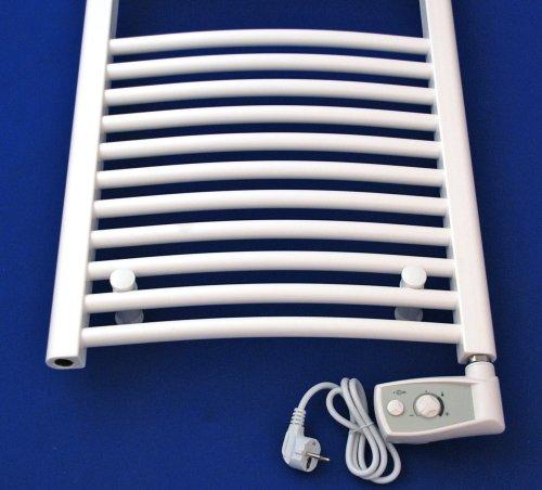 Heizkrper Badheizkrper Handtuchwrmer rein elektrisch mit analogem Thermostat ELEKTRO gebogen