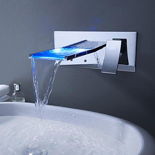 Lonfenner Wasserhahn UnterputzArmatur heie und kalte Kupfer LED Licht Wasserfall