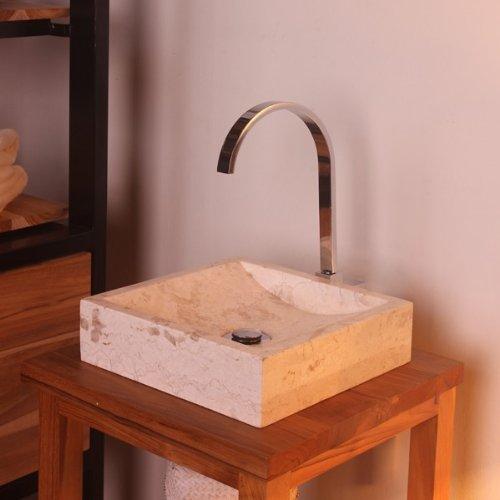 WOHNFREUDEN Marmor Waschbecken 30 cm klein eckig creme Naturstein Waschplatz Handwaschbecken