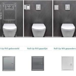 Etsero Roll-up closetrollen dispenser 13.7x77x13.5cm v. maximaal 6 rollen RVS geborsteld