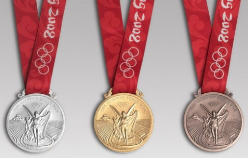 Olympic Medals from the 2008 Summer Olympic Games in Beijing, China.