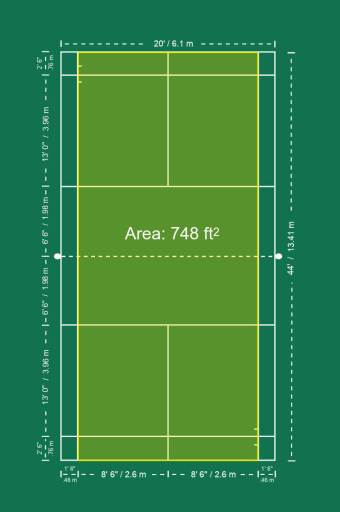 Badminton singles court space.