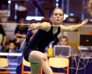 Anna Hald viser gode takter i Litauen. Foto @ Badmintonphoto