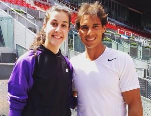 Carolina Marin mødte sit idol Rafael Nadal. Foto @ Carolina Marin
