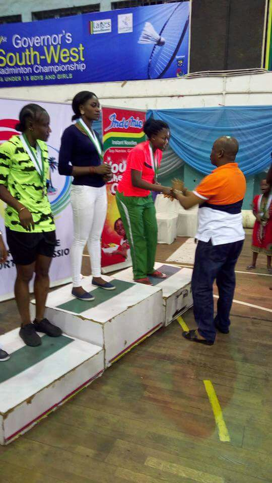 L-R: Funke, Zainab, Tosin receiving medals during the closing ceremony...