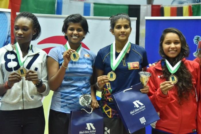 Women's doubles champions: Hendahewa and Ishadika Kavidi