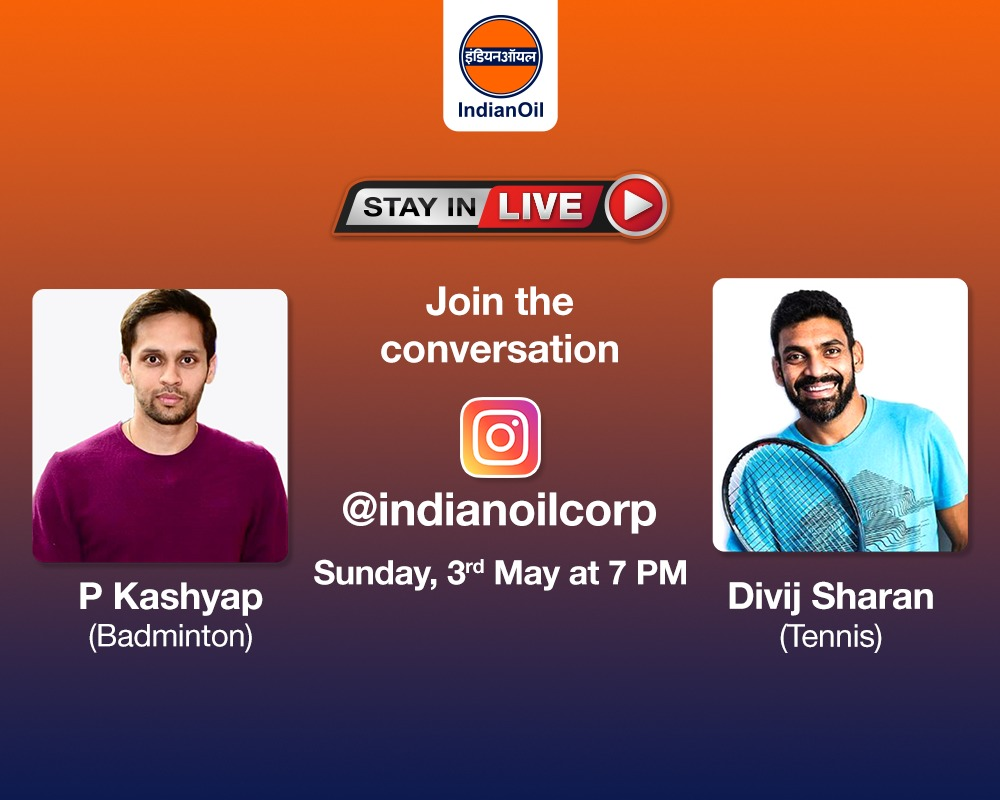 EW7ZFhdUcAE3dhO 2 - Catch Tennis ace amp Badminton star in conversation in our next StayInLive session this Sunday, 3rd May at 7 PM on . You can leave your questions in the comments below. ProudToBeAnIOCian StayHomeStaySafe
