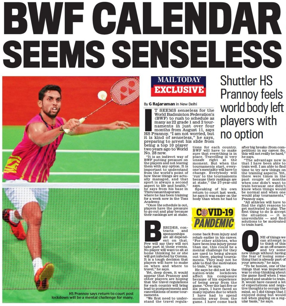 EY LqH8VAAABn6S - One of Indias most articulate badminton players, is drawing from his experience of having to come back to the game after injuries amp rehab on his journey back to training and competition. He says BWF was in a rush to schedule 22 events in four months. _today