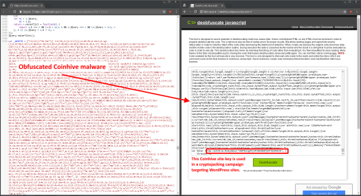 Example site found in WordPress cryptojacking campaign